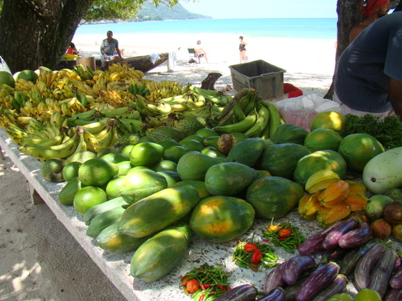 Fresh tropical fruits can be found along the beachfront